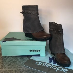 Antelope Grey Leather & Suede Boots